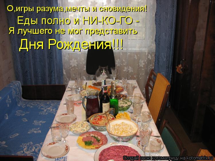 Котоматрица: О,игры разума,мечты и сновидения! Еды полно и НИ-КО-ГО - Я лучшего не мог представить Дня Рождения!!!