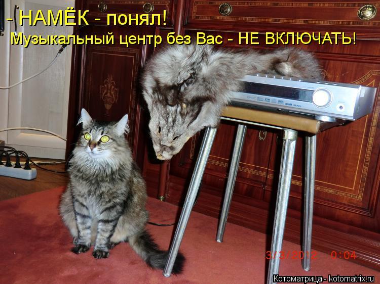 Котоматрица: - НАМЁК - понял! Музыкальный центр без Вас - НЕ ВКЛЮЧАТЬ!