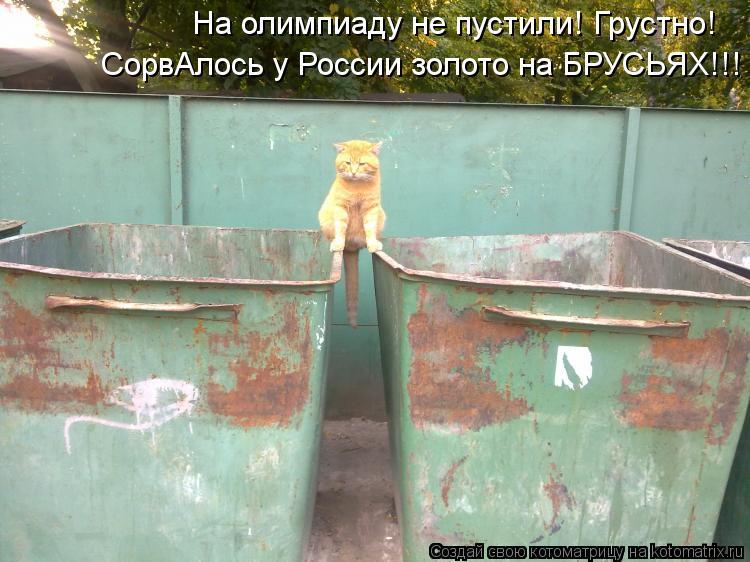 Котоматрица: На олимпиаду не пустили! Грустно! СорвАлось у России золото на БРУСЬЯХ!!!