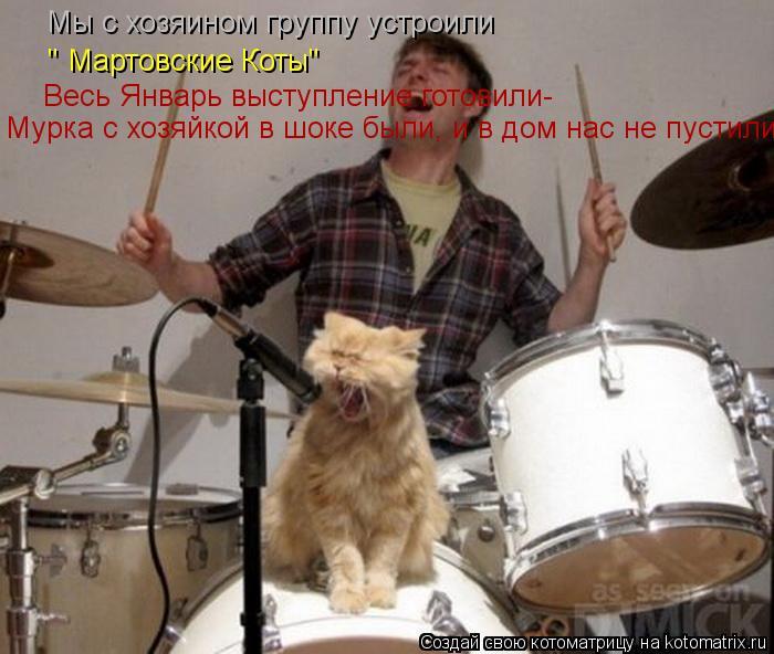 """Котоматрица: Мы с хозяином группу устроили Весь Январь выступление готовили- Весь Январь выступление готовили- """" Мартовские Коты"""" Мурка с хозяйкой в шок"""
