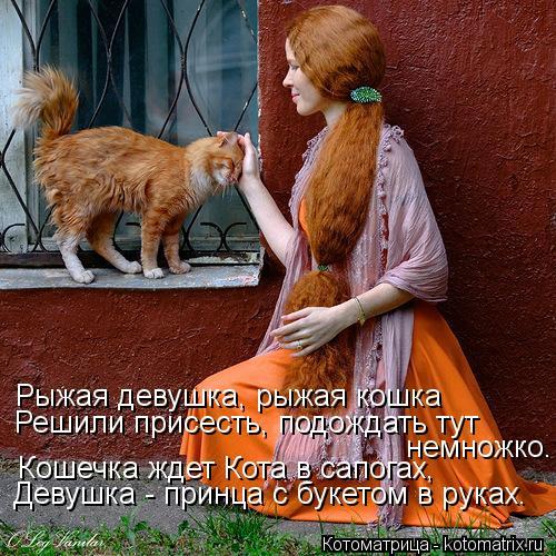 Котоматрица: Рыжая девушка, рыжая кошка Решили присесть, подождать тут  немножко. Девушка - принца с букетом в руках. Кошечка ждет Кота в сапогах,