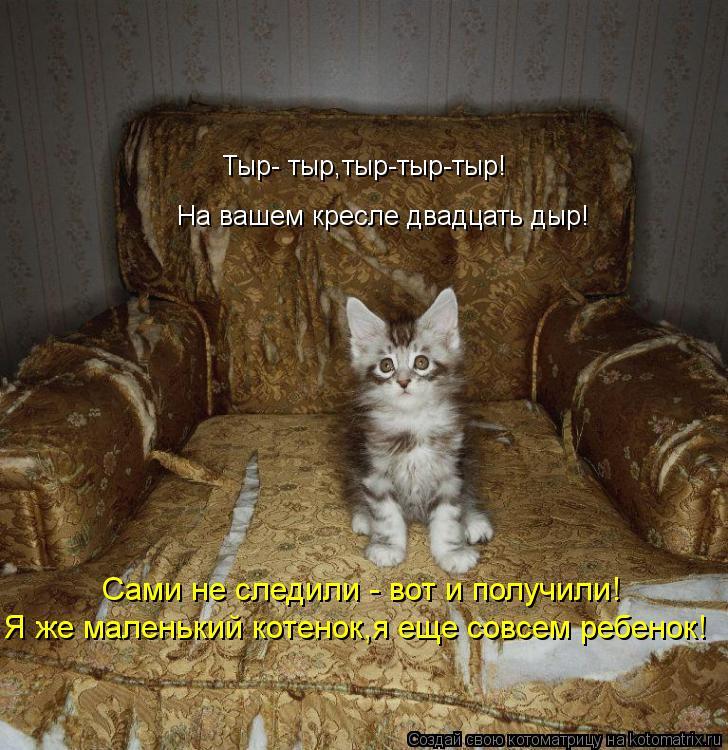 Котоматрица: Тыр- тыр,тыр-тыр-тыр! На вашем кресле двадцать дыр! Сами не следили - вот и получили! Я же маленький котенок,я еще совсем ребенок!