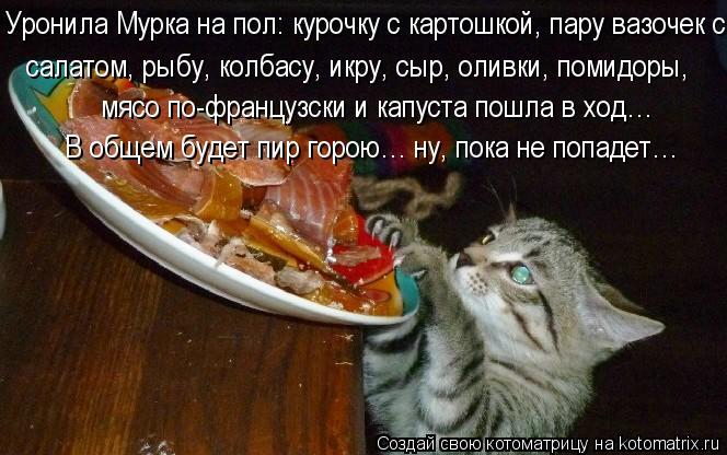 Котоматрица: Уронила Мурка на пол: курочку с картошкой, пару вазочек с   салатом, рыбу, колбасу, икру, сыр, оливки, помидоры,  мясо по-французски и капуста п