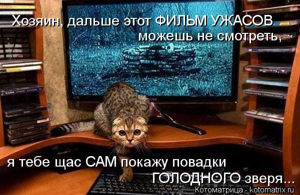 Котоматрица: можешь не смотреть, я тебе щас САМ покажу повадки ГОЛОДНОГО зверя... Хозяин, дальше этот ФИЛЬМ УЖАСОВ