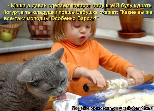 """Котоматрица: - Маша,а давай сделаем подарок бабушке!Я буду кушать йогурт,а ты оладушки поешь!Бабушка скажет: """"Какие вы же все-таки молодцы!Особенно Барсик"""