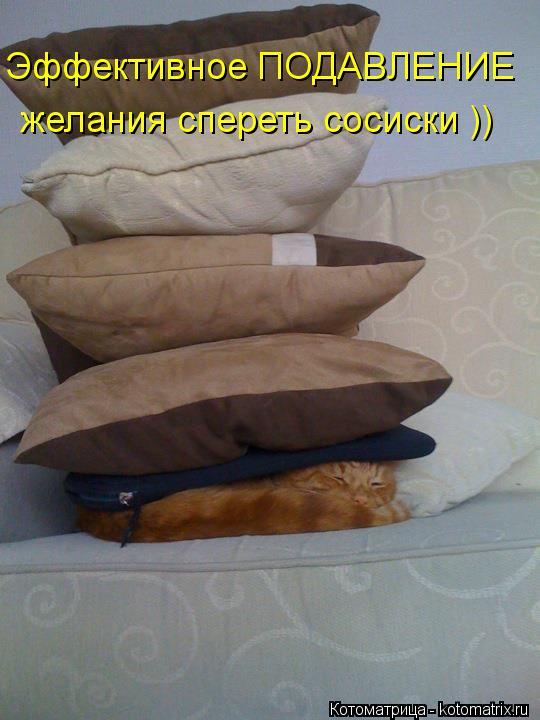 Котоматрица: Эффективное ПОДАВЛЕНИЕ  желания спереть сосиски ))