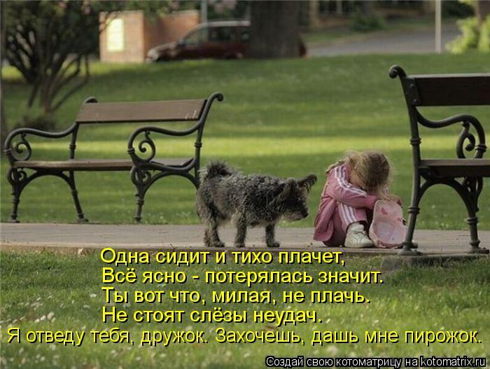Котоматрица: Одна сидит и тихо плачет, Всё ясно - потерялась значит. Ты вот что, милая, не плачь. Не стоят слёзы неудач. Я отведу тебя, дружок. Захочешь, дашь