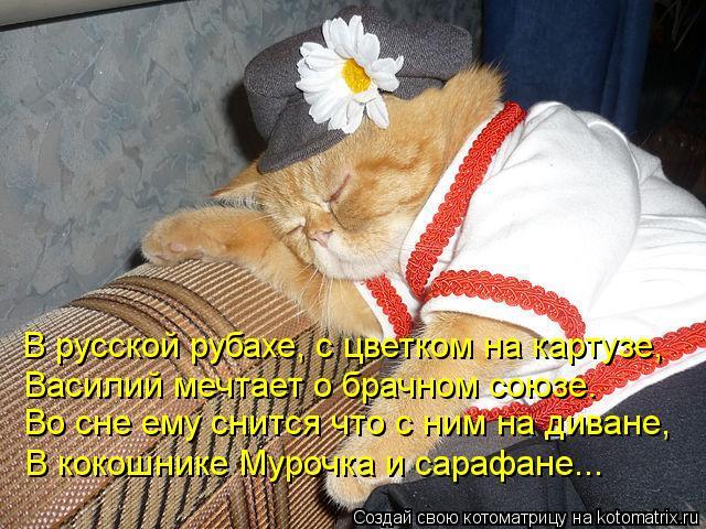 Котоматрица: В русской рубахе, с цветком на картузе, Василий мечтает о брачном союзе. Во сне ему снится что с ним на диване, В кокошнике Мурочка и сарафане