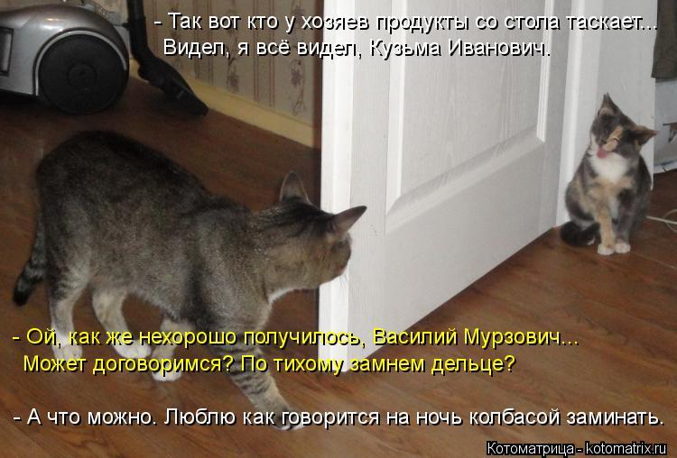 Котоматрица: - Так вот кто у хозяев продукты со стола таскает... Видел, я всё видел, Кузьма Иванович. - Ой, как же нехорошо получилось, Василий Мурзович...  Мо