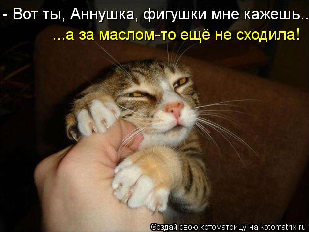 Котоматрица: - Вот ты, Аннушка, фигушки мне кажешь.. ...а за маслом-то ещё не сходила!