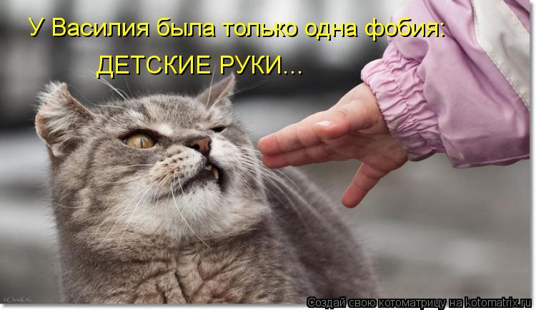 Котоматрица: У Василия была только одна фобия: ДЕТСКИЕ РУКИ...