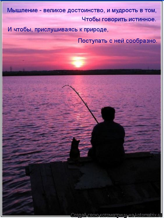 Котоматрица: Мышление - великое достоинство, и мудрость в том, Чтобы говорить истинное. И чтобы, прислушиваясь к природе, Поступать с ней сообразно.