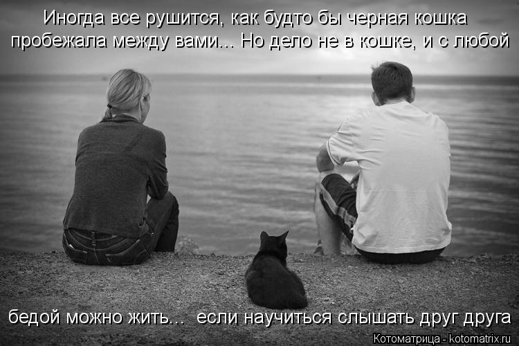 Котоматрица: Иногда все рушится, как будто бы черная кошка  пробежала между вами... Но дело не в кошке, и с любой бедой можно жить...  если научиться слышать