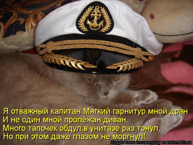 Котоматрица: Я отважный капитан.Мягкий гарнитур мной дран И не один мной пролёжан диван. Много тапочек обдул,в унитазе раз тонул, Но при этом даже глазом