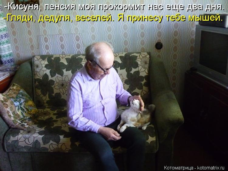 Котоматрица: -Гляди, дедуля, веселей. Я принесу тебе мышей. -Кисуня, пенсия моя прокормит нас еще два дня.