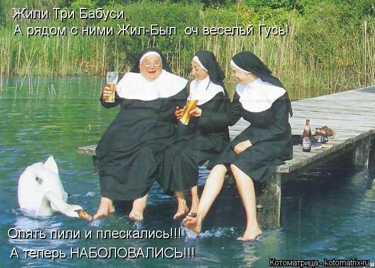 Котоматрица: Жили Три Бабуси, Жили Три Бабуси, А рядом с ними Жил-Был  оч весельй Гусь! Опять пили и плескались!!! А теперь НАБОЛОВАЛИСЬ!!!