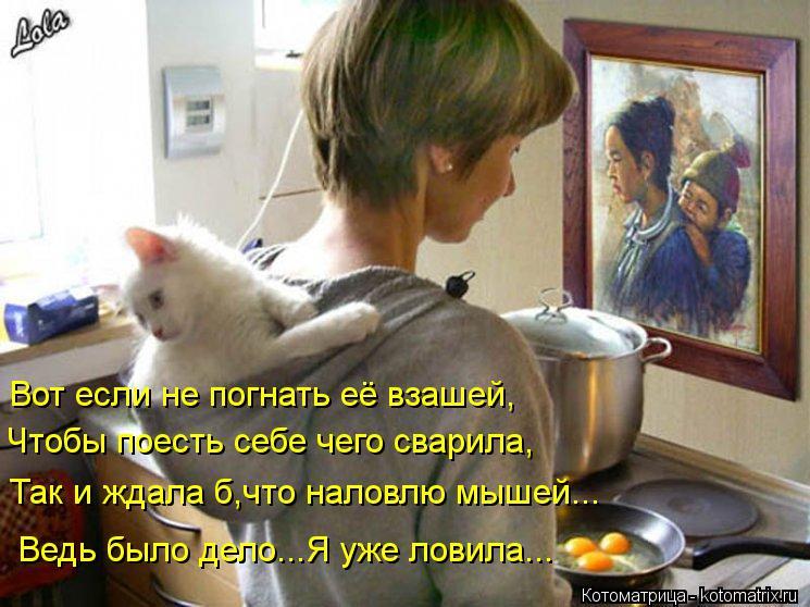 Котоматрица: Вот если не погнать её взашей, Чтобы поесть себе чего сварила, Так и ждала б,что наловлю мышей... Ведь было дело...Я уже ловила...