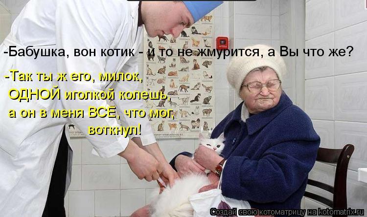 Котоматрица: -Так ты ж его, милок, ОДНОЙ иголкой колешь, а он в меня ВСЕ, что мог,  воткнул! -Бабушка, вон котик - и то не жмурится, а Вы что же?