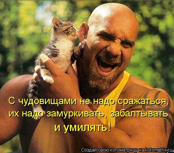 Котоматрица: С чудовищами не надо сражаться, их надо замуркивать, забалтывать  и умилять!