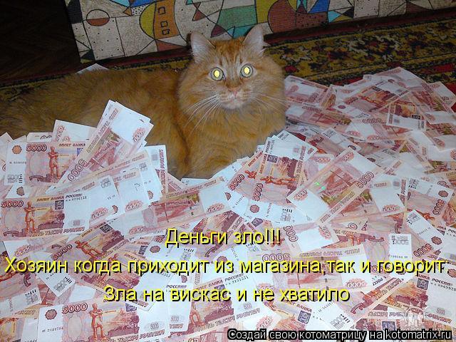 Котоматрица: Деньги зло!!! Хозяин когда приходит из магазина,так и говорит: Зла на вискас и не хватило