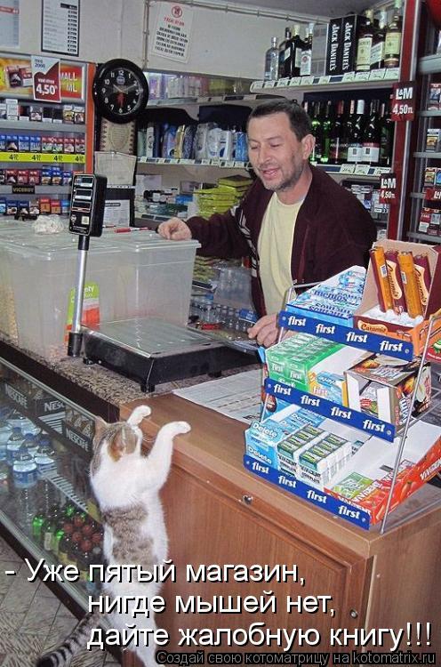 Котоматрица: - Уже пятый магазин,  нигде мышей нет, дайте жалобную книгу!!!