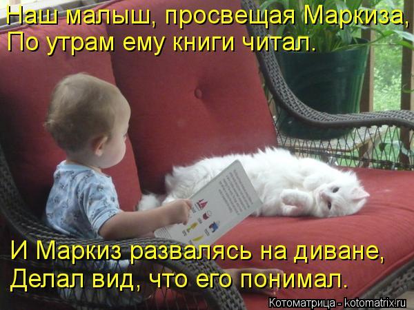 Котоматрица: Наш малыш, просвещая Маркиза, По утрам ему книги читал. И Маркиз развалясь на диване, Делал вид, что его понимал.