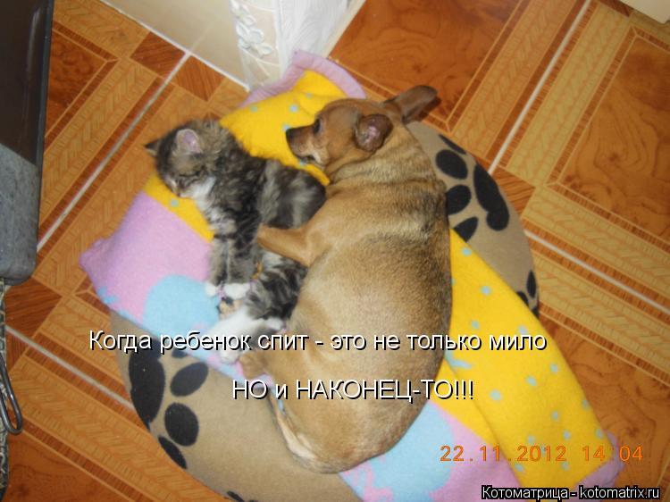 Котоматрица: Когда ребенок спит - это не только мило  НО и НАКОНЕЦ-ТО!!!
