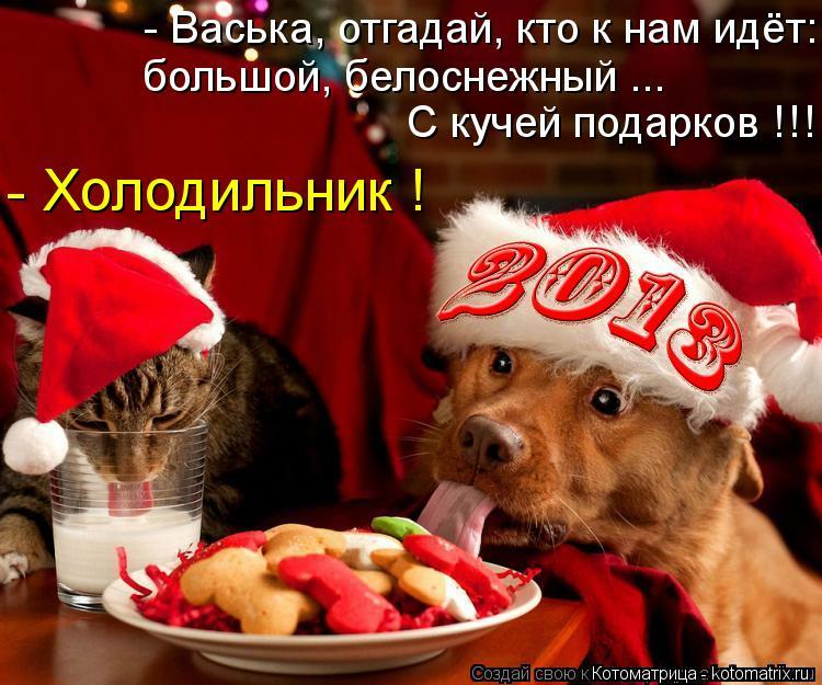 Котоматрица: - Васька, отгадай, кто к нам идёт: С кучей подарков !!! большой, белоснежный ... - Холодильник !