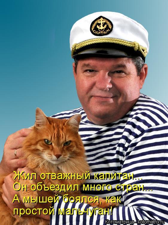 Котоматрица: Жил отважный капитан... Он объездил много стран... А мышей боялся, как простой мальчуган!