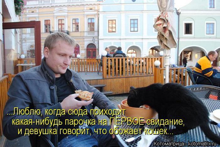 Котоматрица: ...Люблю, когда сюда приходит  какая-нибудь парочка на ПЕРВОЕ свидание,  и девушка говорит, что обожает кошек...