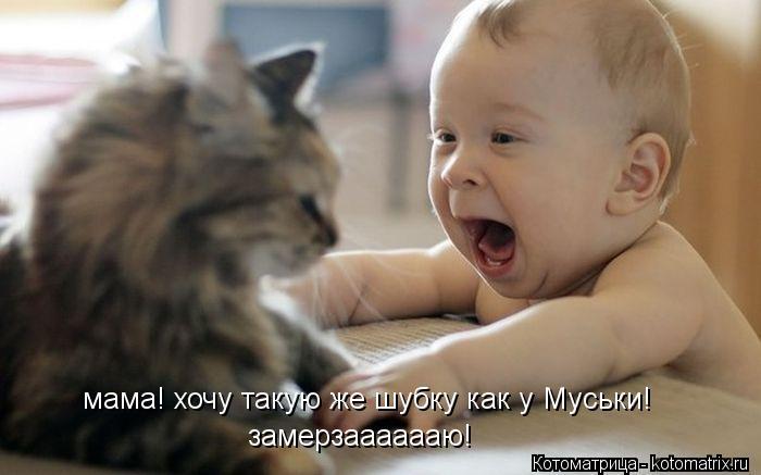 Котоматрица: мама! хочу такую же шубку как у Муськи! замерзааааааю!