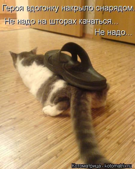Котоматрица: Героя вдогонку накрыло снарядом... Не надо на шторах качаться... Не надо...