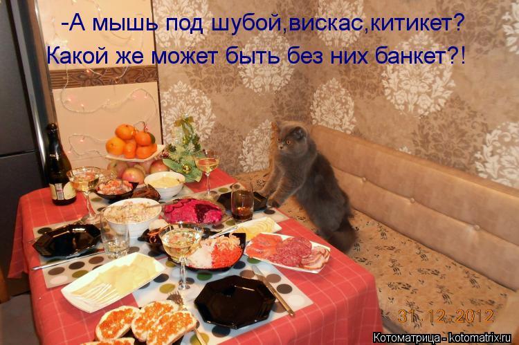 Котоматрица: -А мышь под шубой,вискас,китикет? Какой же может быть без них банкет?!