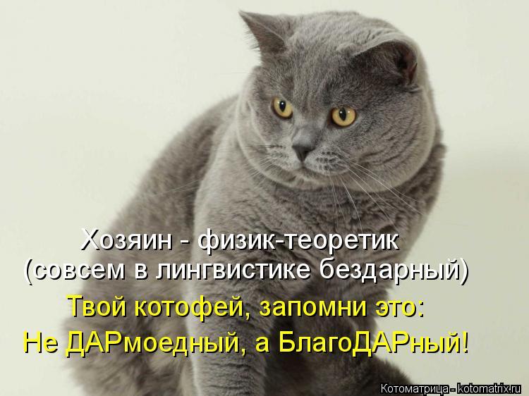 Котоматрица: Хозяин - физик-теоретик  (совсем в лингвистике бездарный) Твой котофей, запомни это: Не ДАРмоедный, а БлагоДАРный!