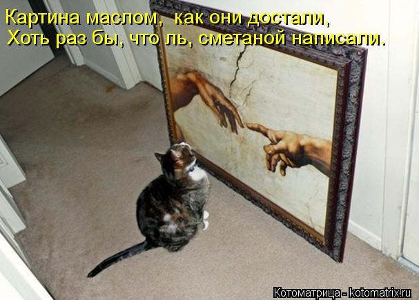 Котоматрица: Картина маслом,  как они достали, Хоть раз бы, что ль, сметаной написали.