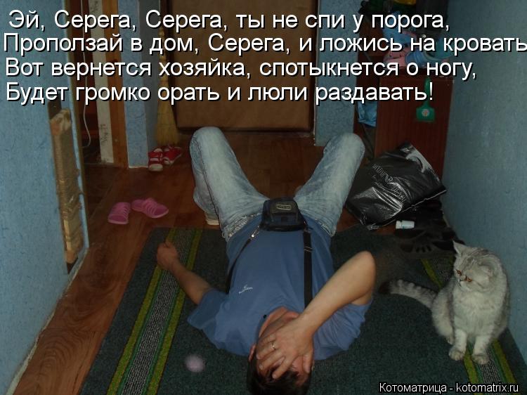 Котоматрица: Эй, Серега, Серега, ты не спи у порога, Проползай в дом, Серега, и ложись на кровать. Вот вернется хозяйка, спотыкнется о ногу,  Будет громко ор