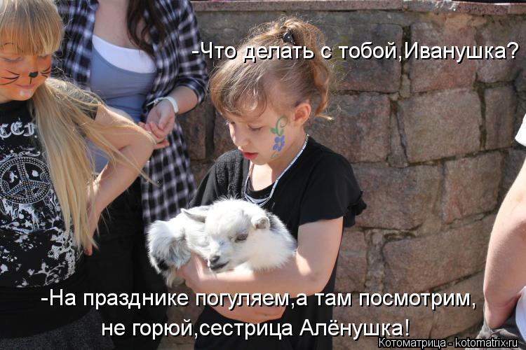 Котоматрица: -Что делать с тобой,Иванушка? -На празднике погуляем,а там посмотрим, не горюй,сестрица Алёнушка!