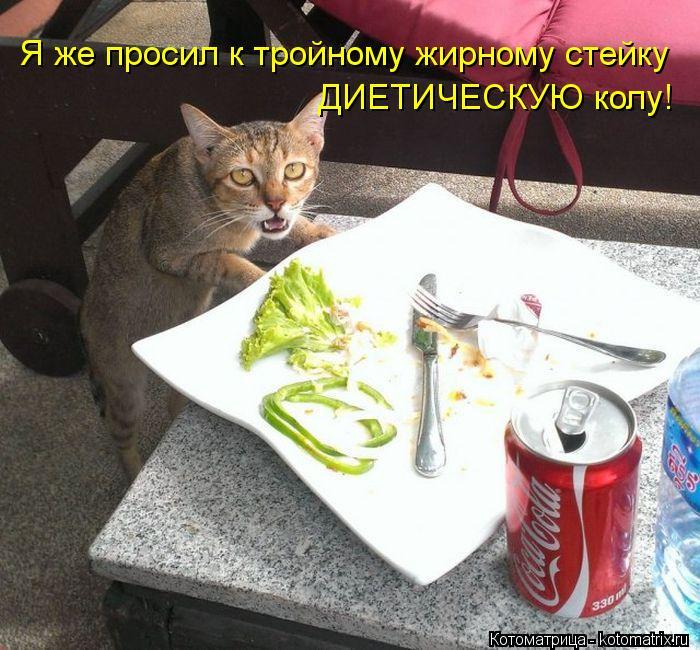 Котоматрица: Я же просил к тройному жирному стейку ДИЕТИЧЕСКУЮ колу!