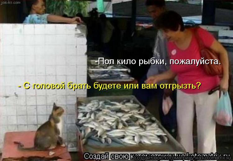 Котоматрица: - С головой брать будете или вам отгрызть? -Пол кило рыбки, пожалуйста.