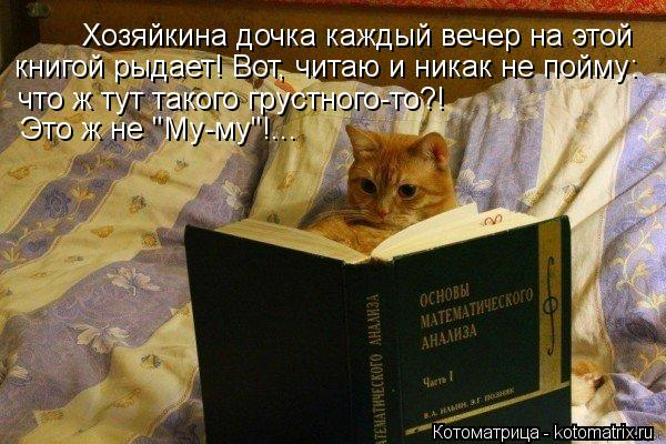"""Котоматрица: Хозяйкина дочка каждый вечер на этой  книгой рыдает! Вот, читаю и никак не пойму:  что ж тут такого грустного-то?! Это ж не """"Му-му""""!..."""