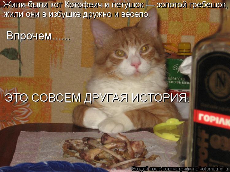 Котоматрица: Жили-были кот Котофеич и петушок — золотой гребешок, жили они в избушке дружно и весело. Впрочем...... ЭТО СОВСЕМ ДРУГАЯ ИСТОРИЯ.