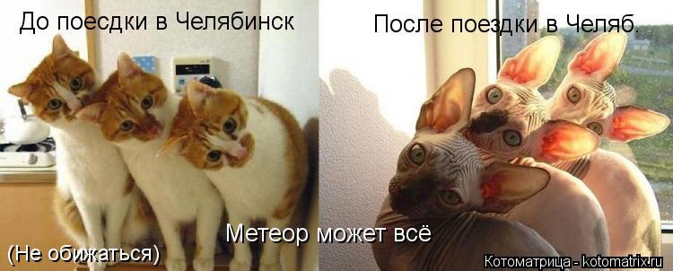 Котоматрица: До поесдки в Челябинск После поездки в Челяб. Метеор может всё (Не обижаться)