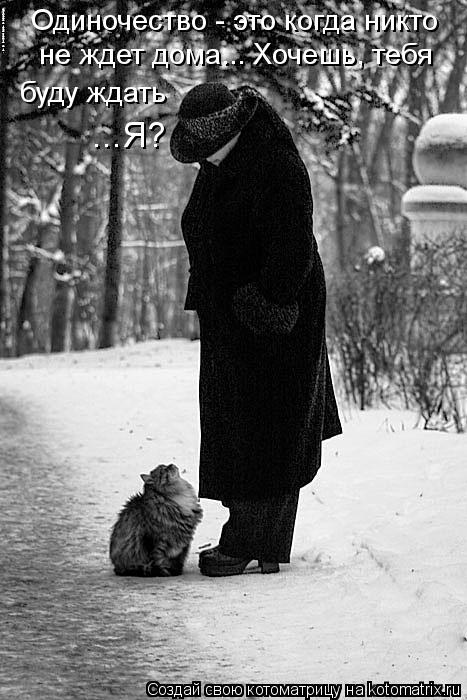 Котоматрица: Одиночество - это когда никто   не ждет дома... Хочешь, тебя буду ждать ...Я?