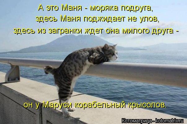 Котоматрица: здесь из загранки ждет она милого друга -  он у Маруси корабельный крысолов. А это Маня - моряка подруга, здесь Маня поджидает не улов,