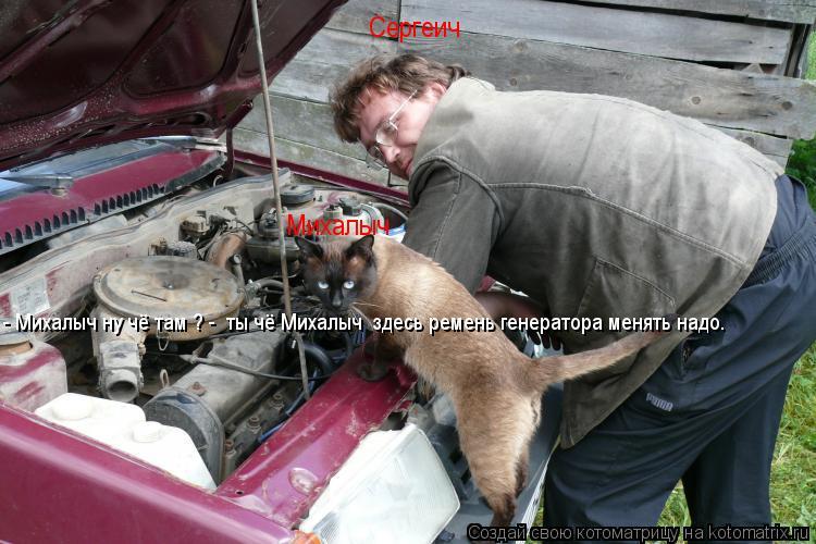 Котоматрица: Михалыч Сергеич - Михалыч ну чё там ? -  ты чё Михалыч  здесь ремень генератора менять надо.