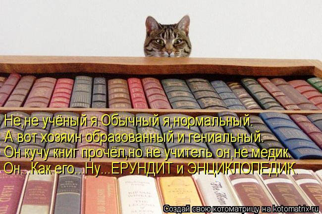 Котоматрица: Не,не учёный я.Обычный я,нормальный. А вот хозяин образованный и гениальный. Он кучу книг прочёл,но не учитель он,не медик. Он...Как его...Ну...Е