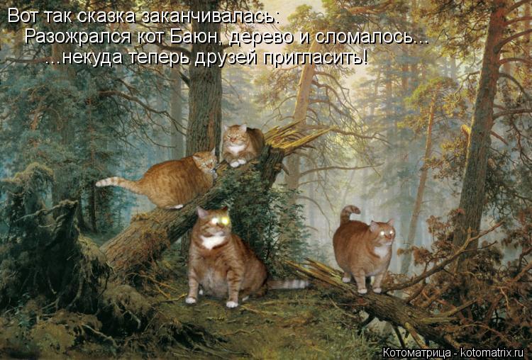 Котоматрица: Вот так сказка заканчивалась: Разожрался кот Баюн, дерево и сломалось... ...некуда теперь друзей пригласить!