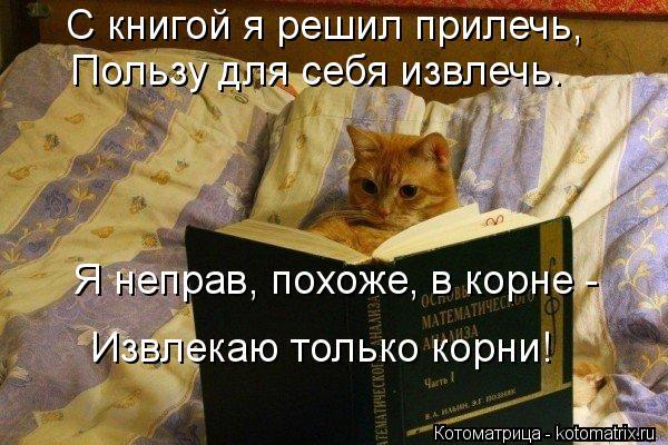 Котоматрица: С книгой я решил прилечь,  Пользу для себя извлечь. Я неправ, похоже, в корне -  Извлекаю только корни!
