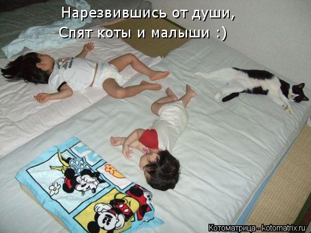 Котоматрица: Нарезвившись от души, Спят коты и малыши :)