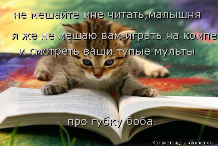 Котоматрица: не мешайте мне читать,малышня я же не мешаю вам играть на компе и смотреть ваши тупые мульты про губку боба